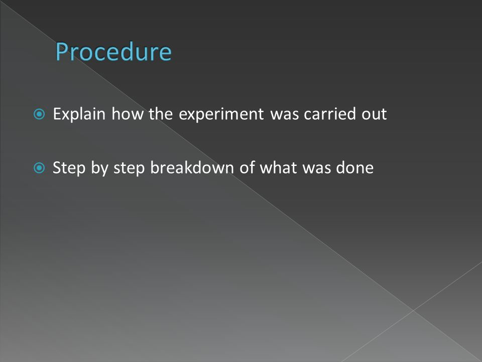 Explain how the experiment was carried out Step by step breakdown of what was done