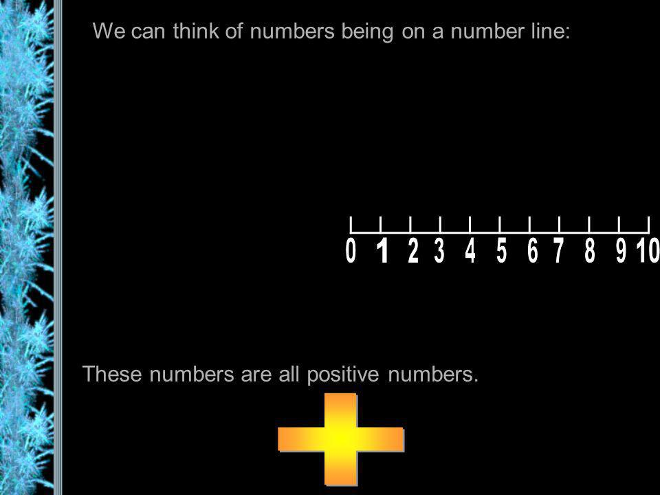 We can think of numbers being on a number line: These numbers are all positive numbers.