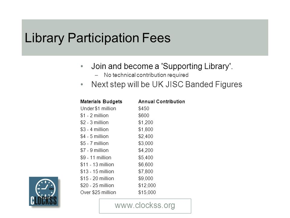 www.clockss.org Library Participation Fees Join and become a Supporting Library .