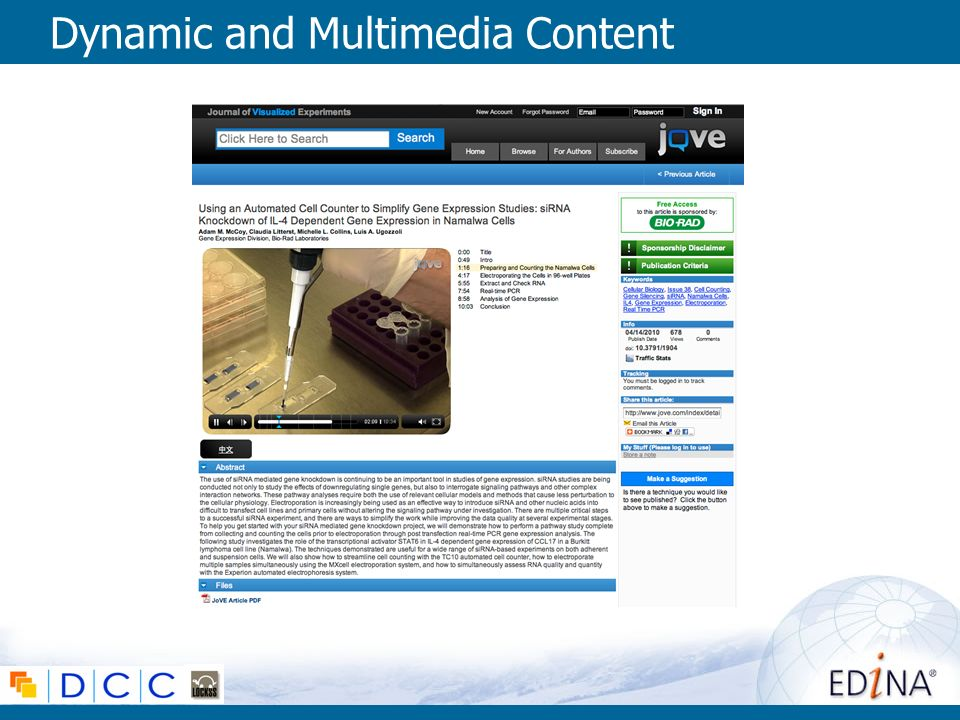 Dynamic and Multimedia Content