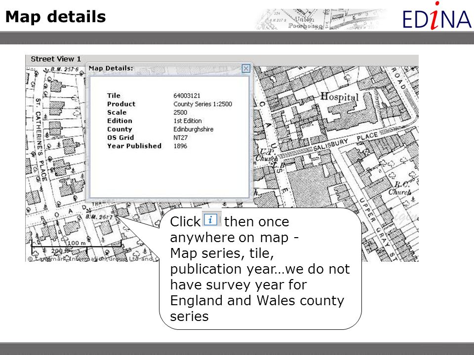 Map details Click then once anywhere on map - Map series, tile, publication year…we do not have survey year for England and Wales county series