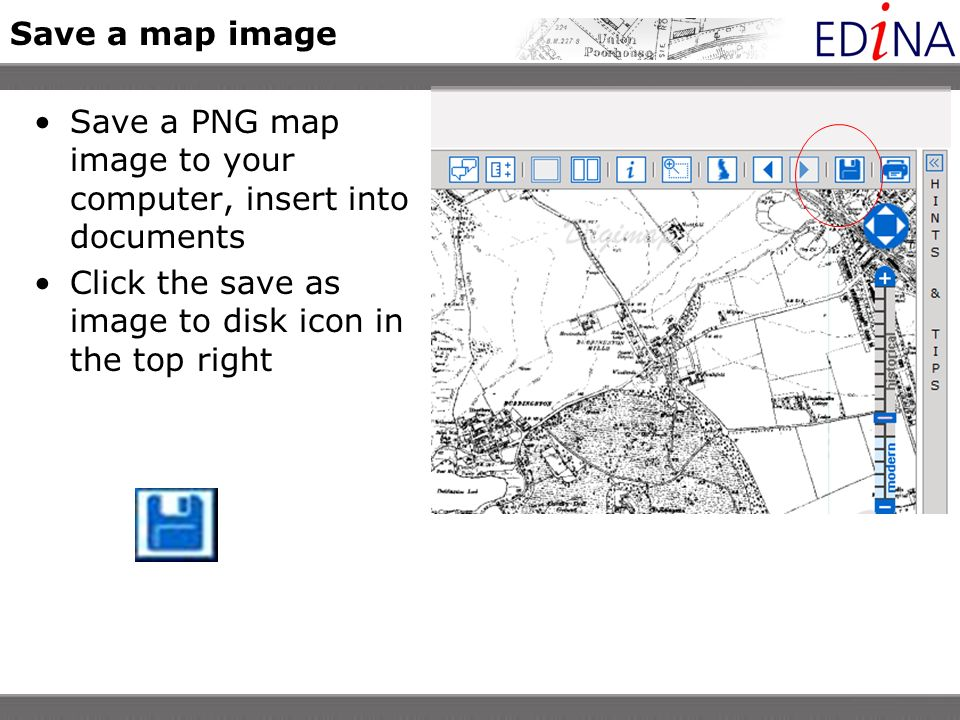 Save a map image Save a PNG map image to your computer, insert into documents Click the save as image to disk icon in the top right