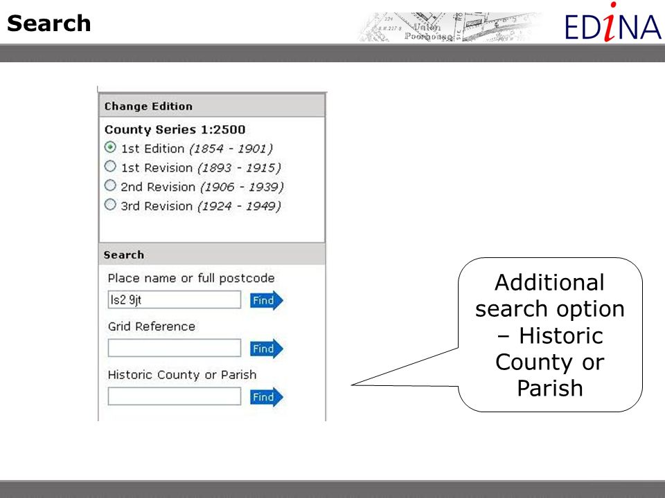 Search Additional search option – Historic County or Parish