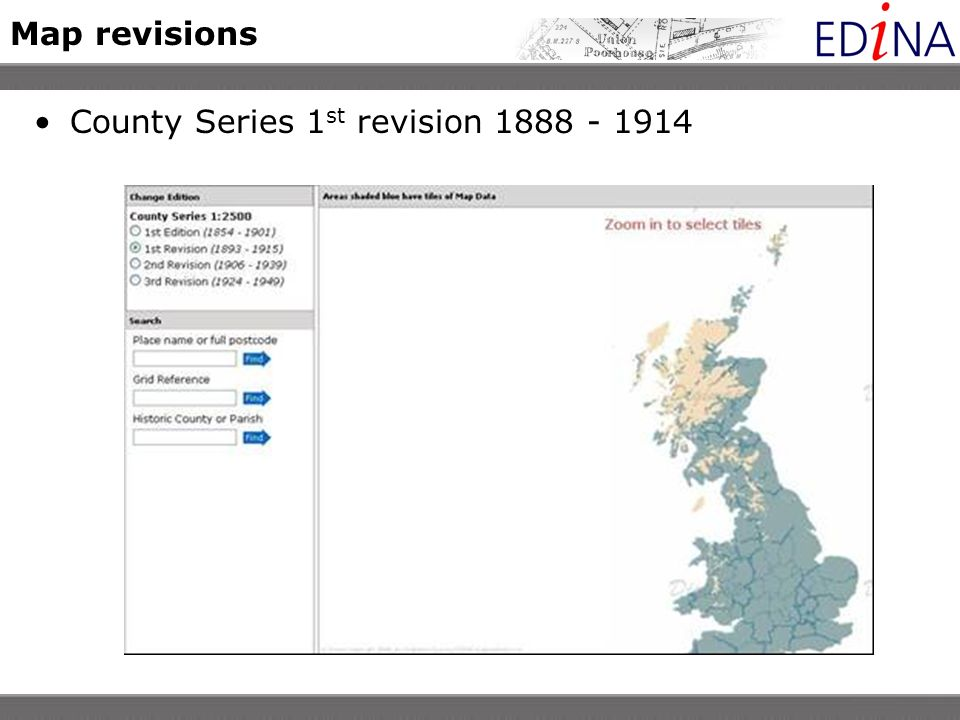 Map revisions County Series 1 st revision 1888 - 1914