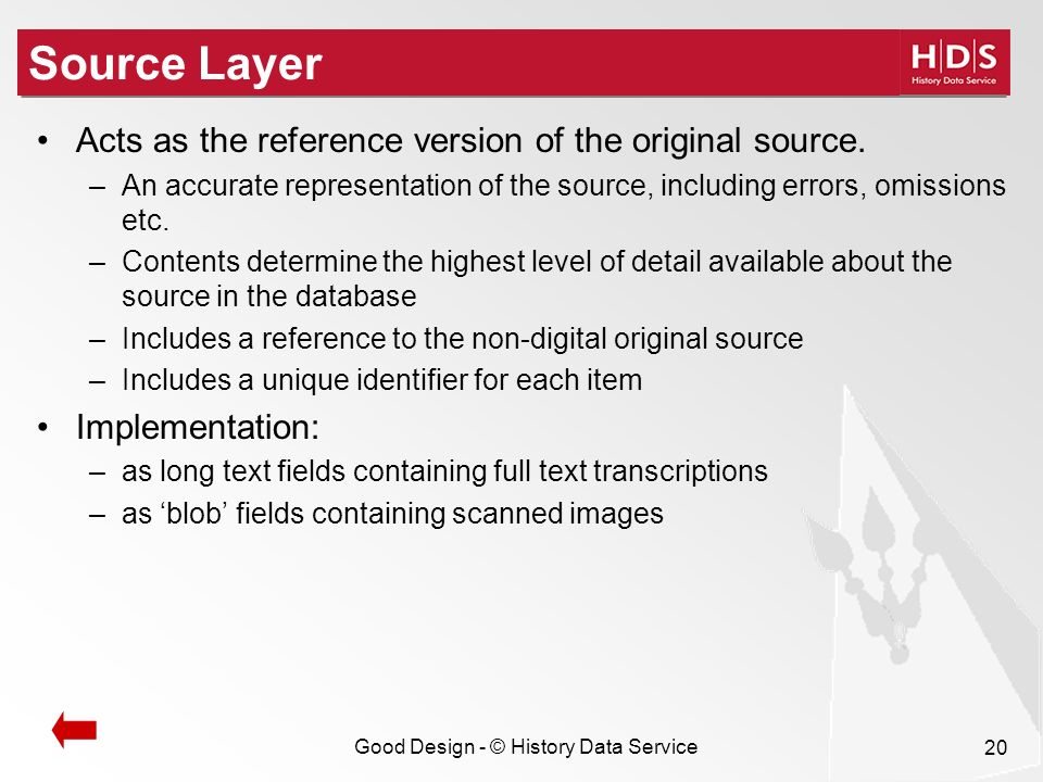 Good Design - © History Data Service 20 Source Layer Acts as the reference version of the original source.
