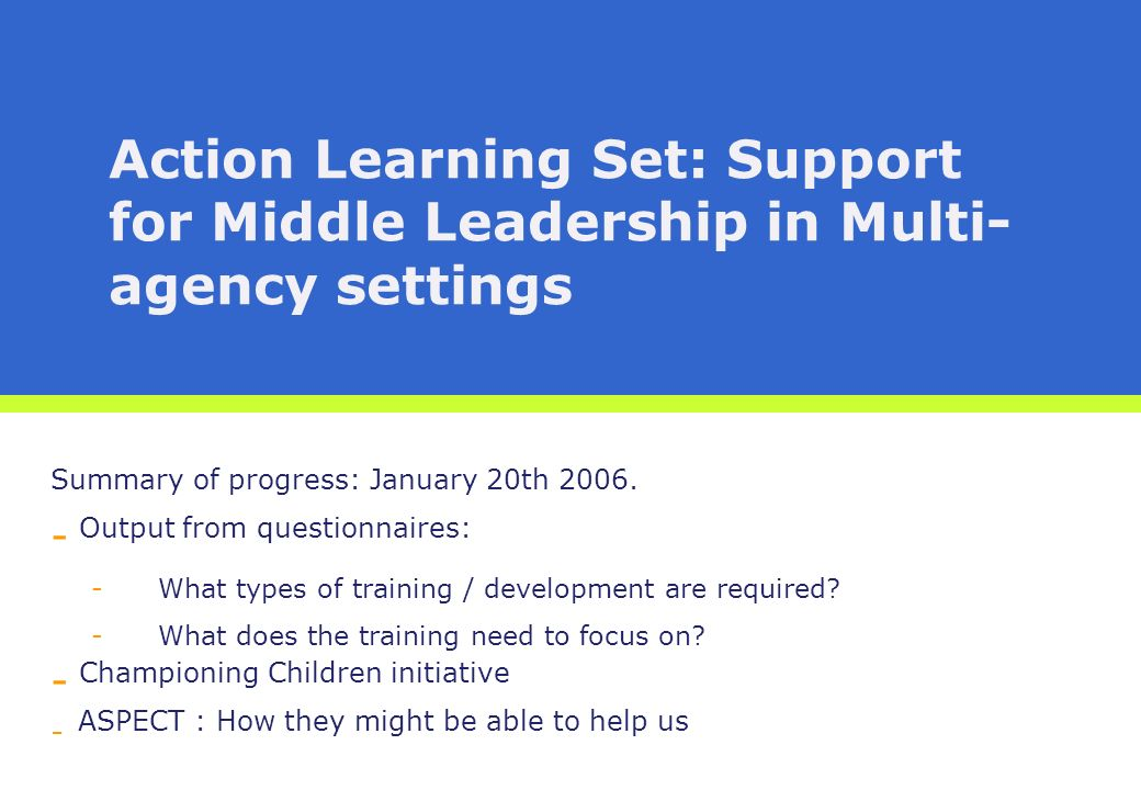 Action Learning Set: Support for Middle Leadership in Multi- agency settings Summary of progress: January 20th 2006.
