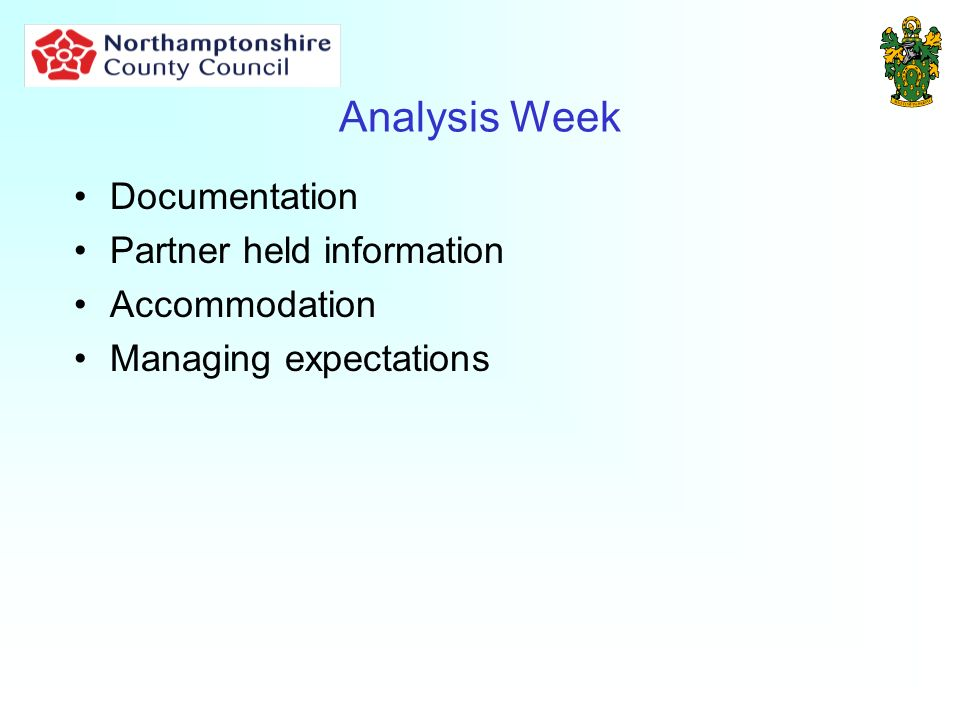 Analysis Week Documentation Partner held information Accommodation Managing expectations