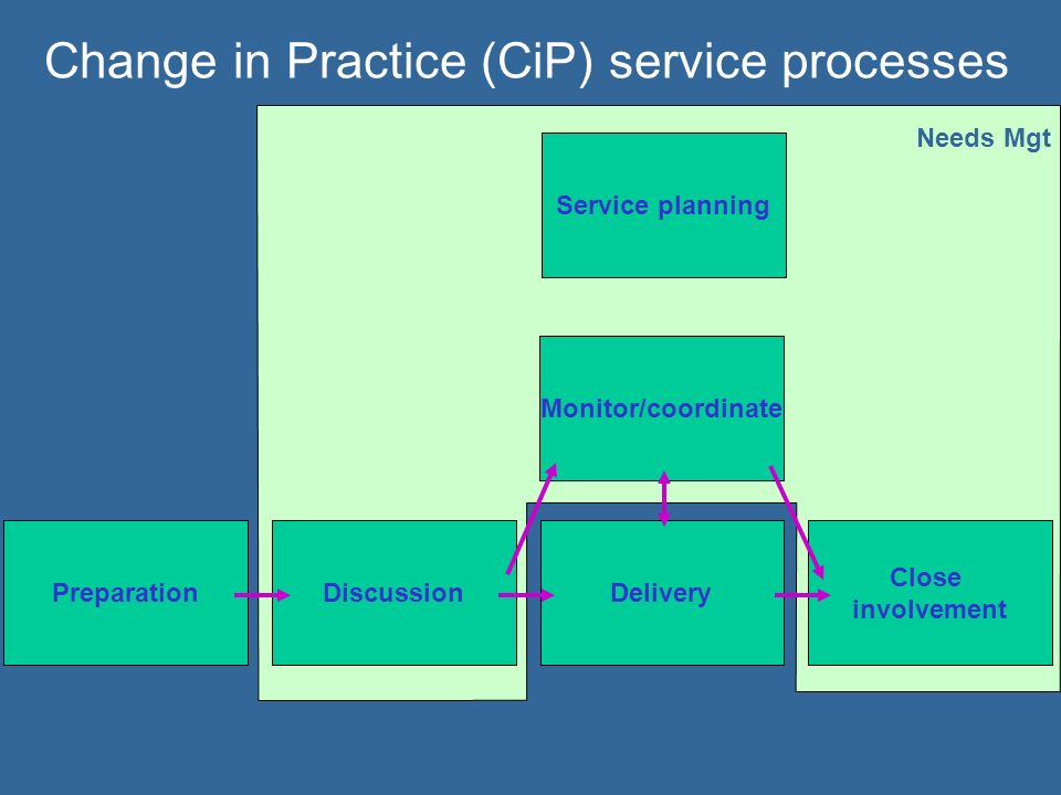 Change in Practice (CiP) service processes PreparationDiscussionDelivery Close involvement Monitor/coordinate Needs Mgt Service planning