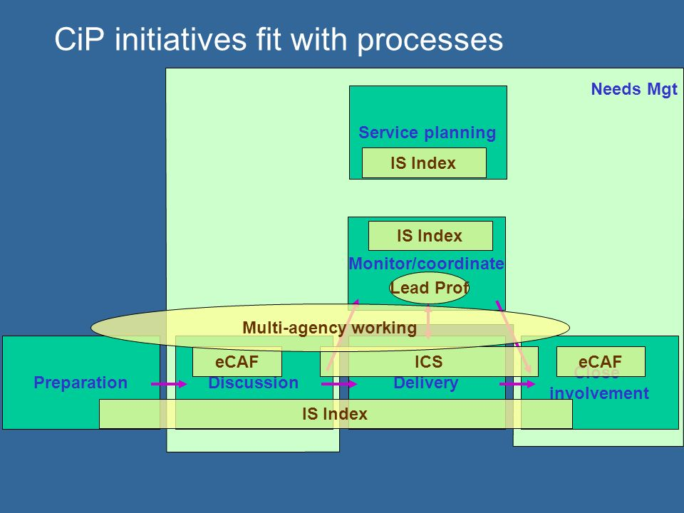 CiP initiatives fit with processes PreparationDiscussionDelivery Close involvement Monitor/coordinate Needs Mgt Service planning IS Index ICSeCAF Lead Prof Multi-agency working IS Index
