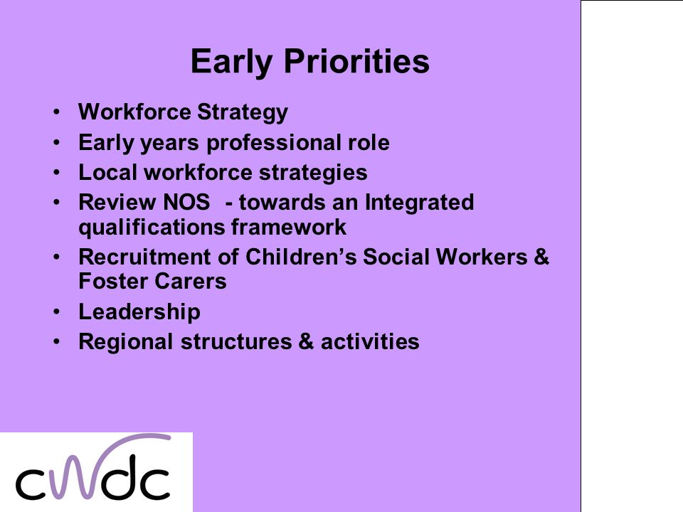 Early Priorities Workforce Strategy Early years professional role Local workforce strategies Review NOS - towards an Integrated qualifications framework Recruitment of Childrens Social Workers & Foster Carers Leadership Regional structures & activities