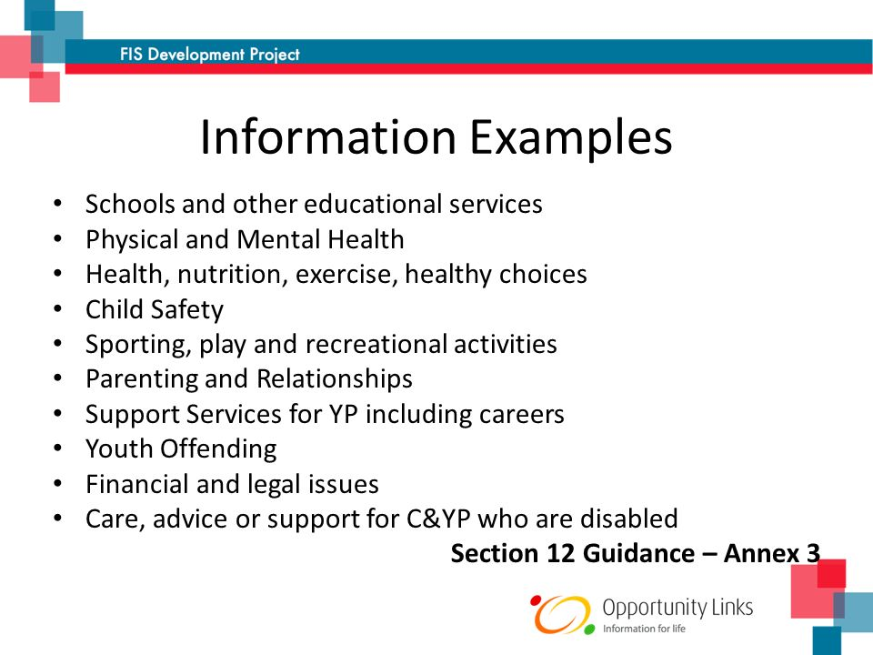 Information Examples Schools and other educational services Physical and Mental Health Health, nutrition, exercise, healthy choices Child Safety Sporting, play and recreational activities Parenting and Relationships Support Services for YP including careers Youth Offending Financial and legal issues Care, advice or support for C&YP who are disabled Section 12 Guidance – Annex 3