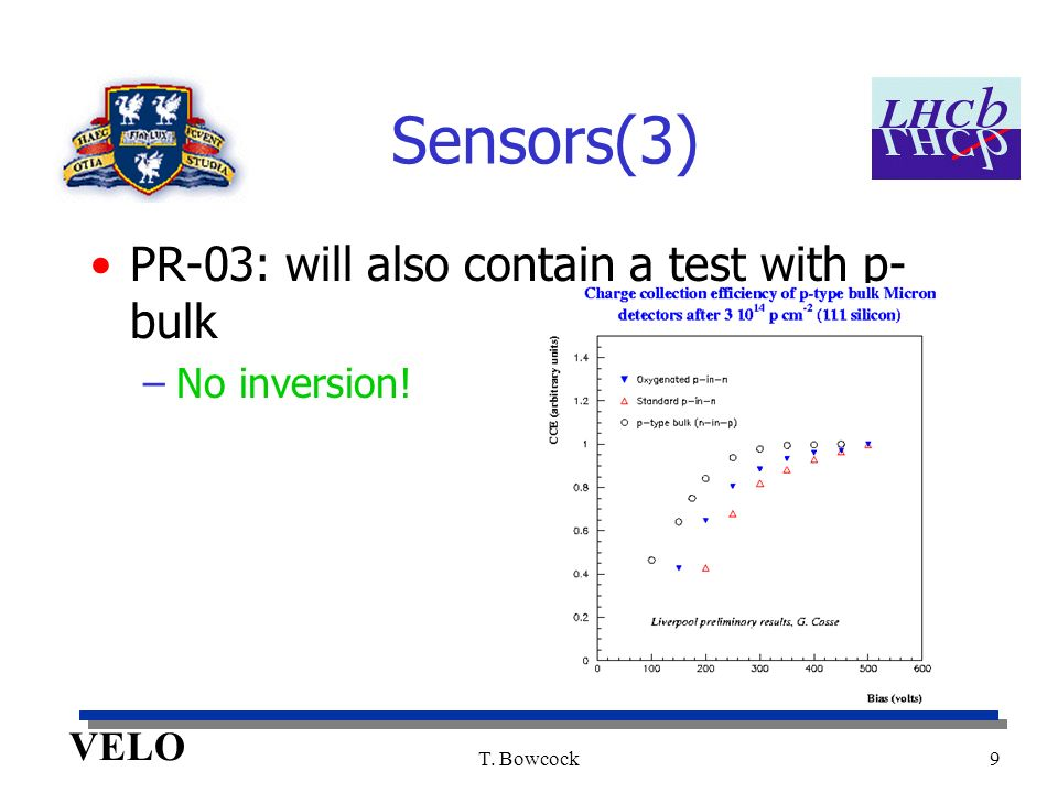 VELO T. Bowcock9 Sensors(3) PR-03: will also contain a test with p- bulk –No inversion!