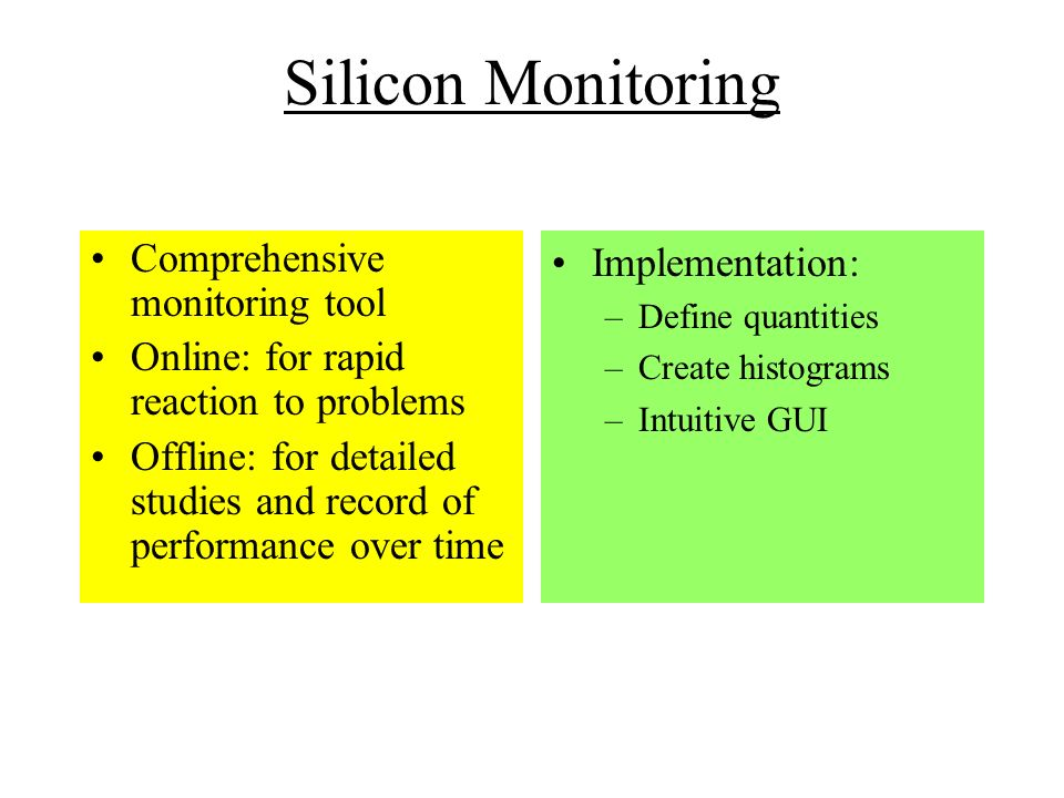 Silicon Monitoring Comprehensive monitoring tool Online: for rapid reaction to problems Offline: for detailed studies and record of performance over time Implementation: –Define quantities –Create histograms –Intuitive GUI