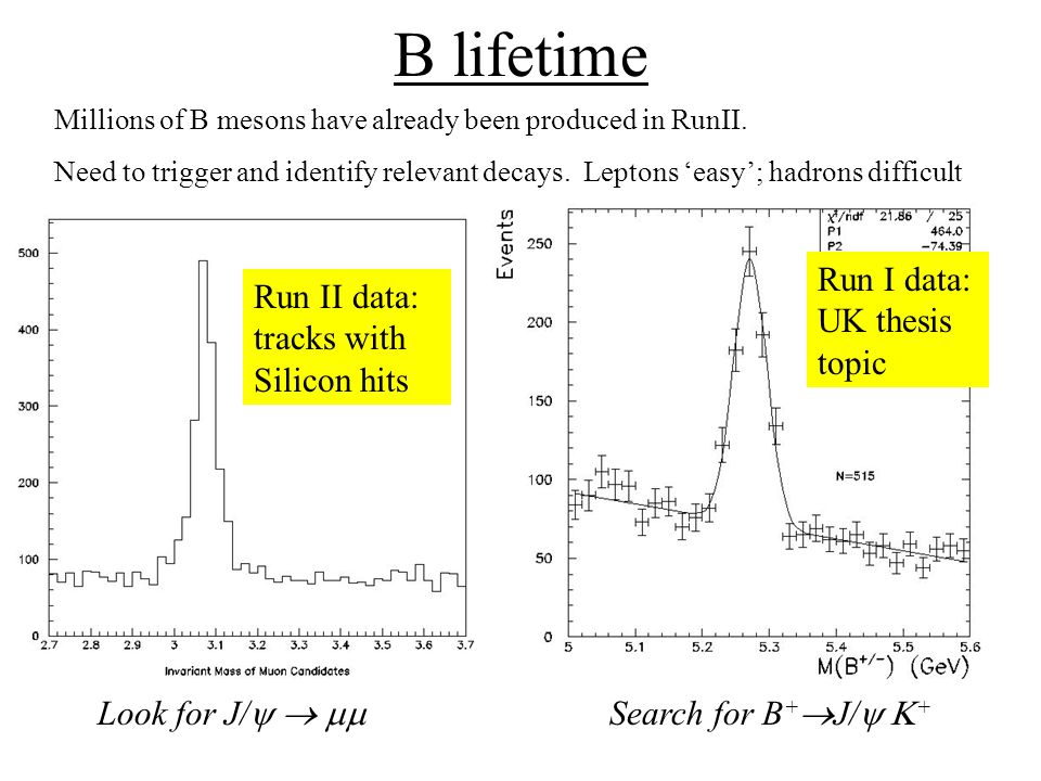 B lifetime Millions of B mesons have already been produced in RunII.