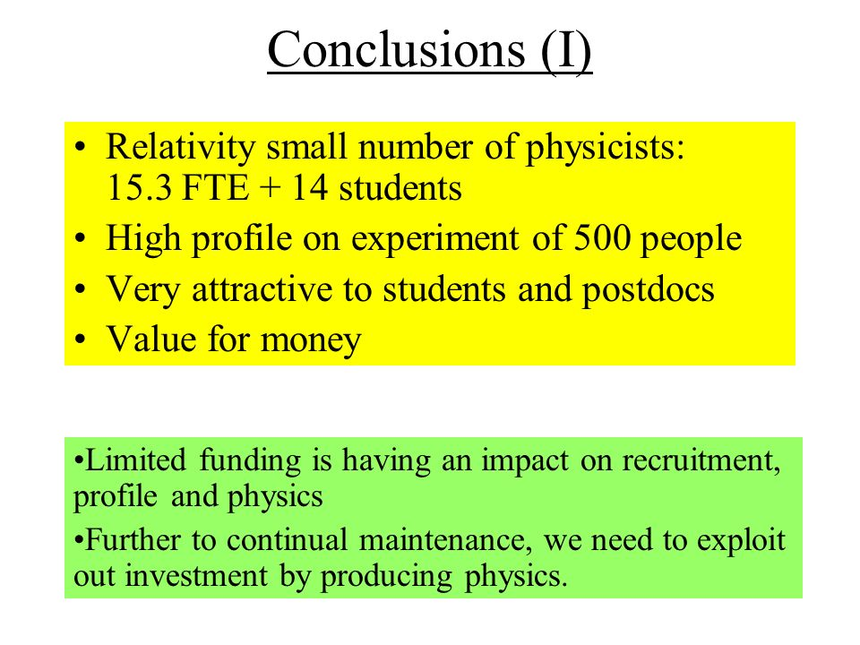 Conclusions (I) Relativity small number of physicists: 15.3 FTE + 14 students High profile on experiment of 500 people Very attractive to students and postdocs Value for money Limited funding is having an impact on recruitment, profile and physics Further to continual maintenance, we need to exploit out investment by producing physics.