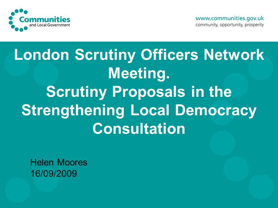 London Scrutiny Officers Network Meeting.