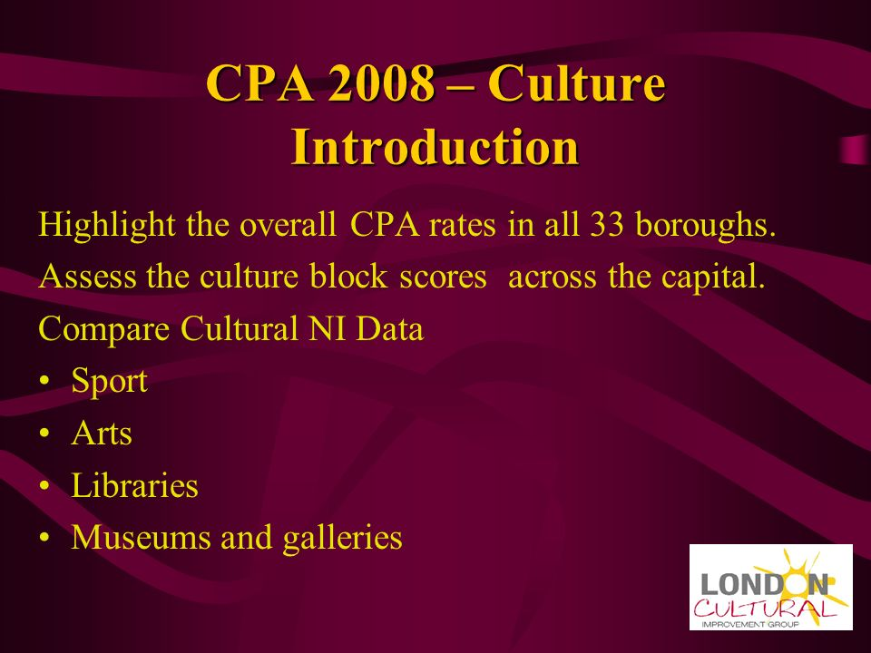 CPA 2008 – Culture Introduction Highlight the overall CPA rates in all 33 boroughs.