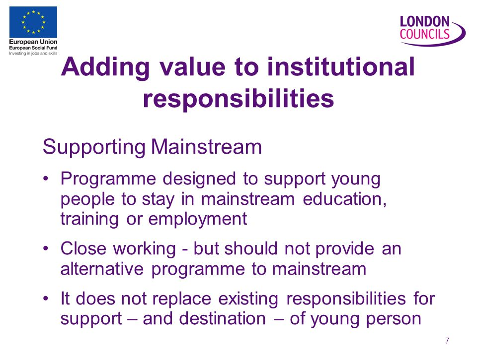 7 Adding value to institutional responsibilities Supporting Mainstream Programme designed to support young people to stay in mainstream education, training or employment Close working - but should not provide an alternative programme to mainstream It does not replace existing responsibilities for support – and destination – of young person