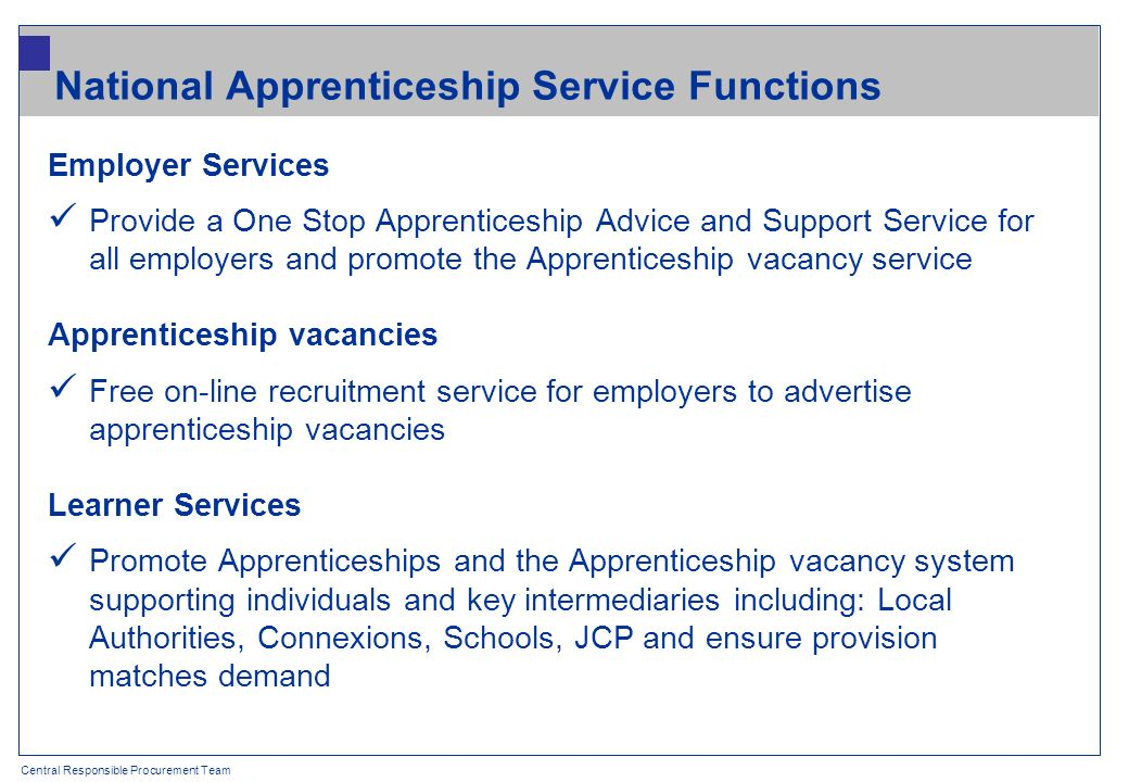 Central Responsible Procurement Team National Apprenticeship Service Functions Employer Services Provide a One Stop Apprenticeship Advice and Support Service for all employers and promote the Apprenticeship vacancy service Apprenticeship vacancies Free on-line recruitment service for employers to advertise apprenticeship vacancies Learner Services Promote Apprenticeships and the Apprenticeship vacancy system supporting individuals and key intermediaries including: Local Authorities, Connexions, Schools, JCP and ensure provision matches demand