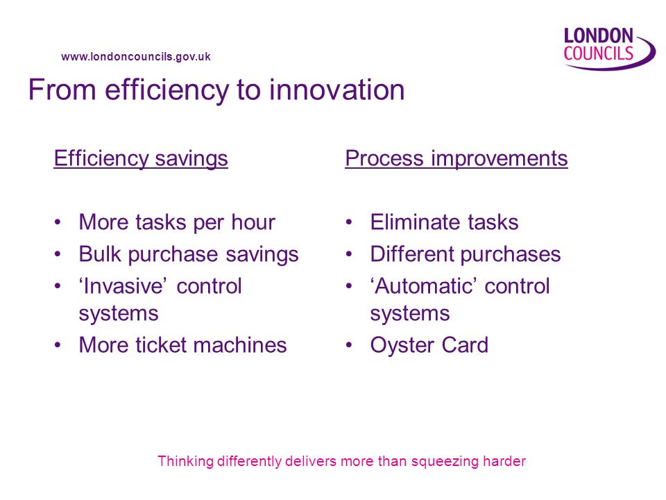 www.londoncouncils.gov.uk From efficiency to innovation Efficiency savings More tasks per hour Bulk purchase savings Invasive control systems More ticket machines Process improvements Eliminate tasks Different purchases Automatic control systems Oyster Card Thinking differently delivers more than squeezing harder