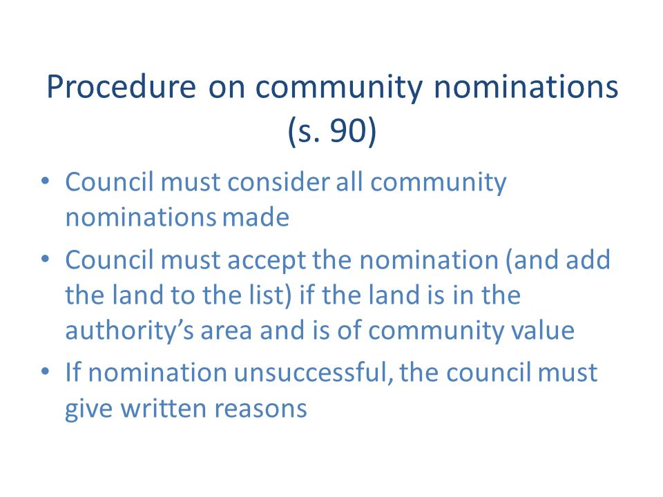 Procedure on community nominations (s.