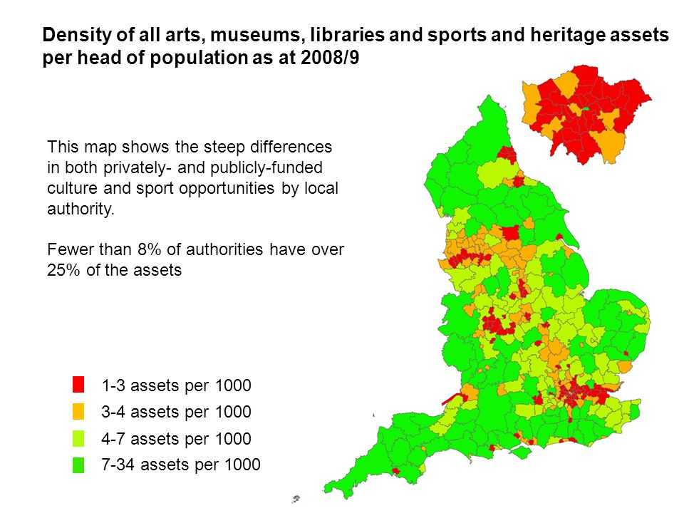 Density of all arts, museums, libraries and sports and heritage assets per head of population as at 2008/9 This map shows the steep differences in both privately- and publicly-funded culture and sport opportunities by local authority.