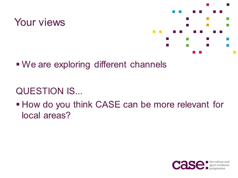 Your views We are exploring different channels QUESTION IS...