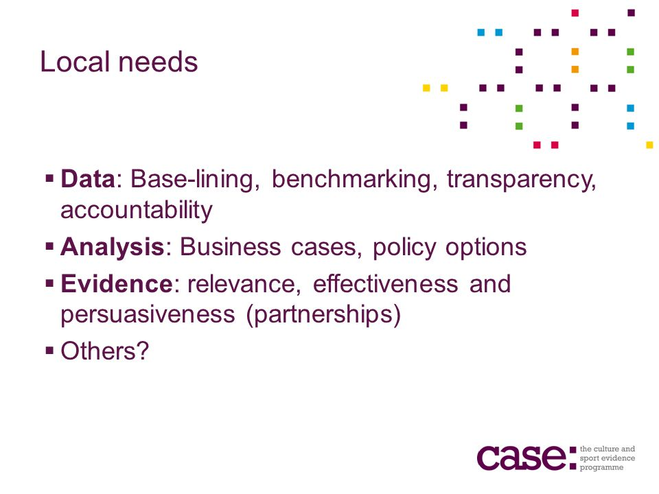 Local needs Data: Base-lining, benchmarking, transparency, accountability Analysis: Business cases, policy options Evidence: relevance, effectiveness and persuasiveness (partnerships) Others