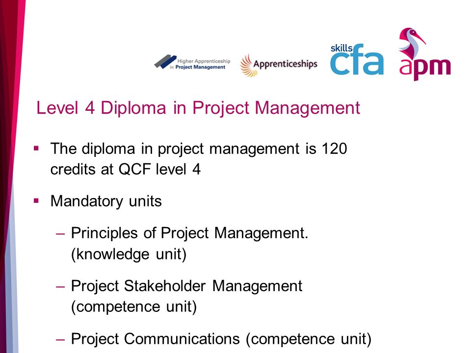 Level 4 Diploma in Project Management The diploma in project management is 120 credits at QCF level 4 Mandatory units –Principles of Project Management.