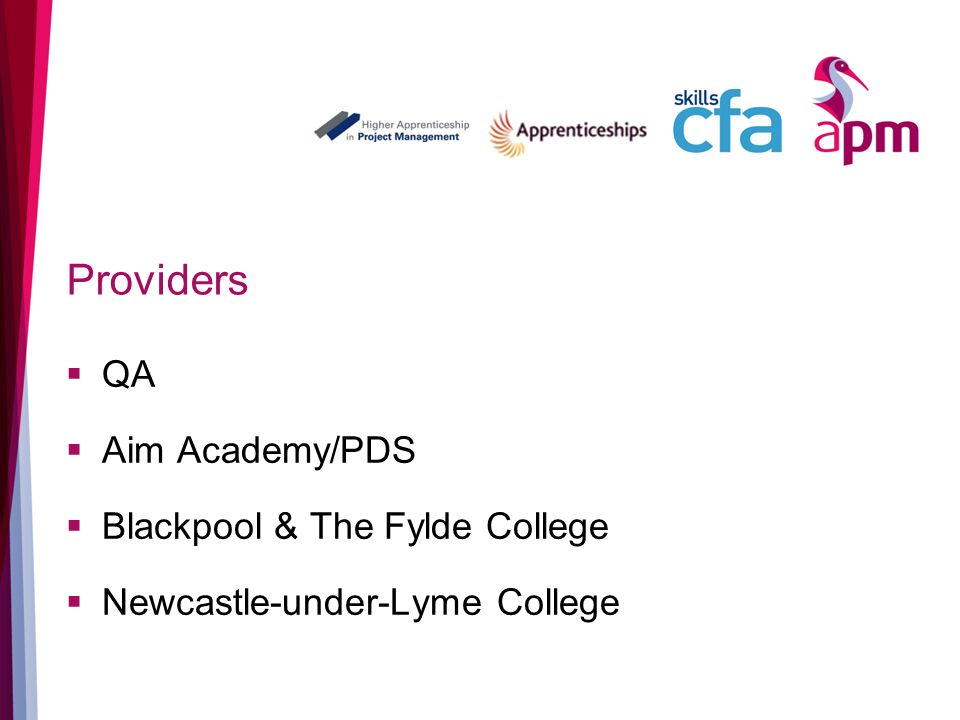 Providers QA Aim Academy/PDS Blackpool & The Fylde College Newcastle-under-Lyme College