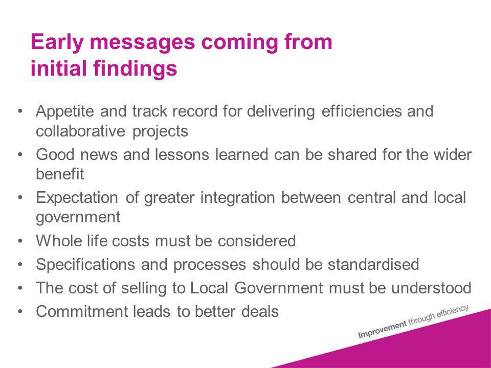 Early messages coming from initial findings Appetite and track record for delivering efficiencies and collaborative projects Good news and lessons learned can be shared for the wider benefit Expectation of greater integration between central and local government Whole life costs must be considered Specifications and processes should be standardised The cost of selling to Local Government must be understood Commitment leads to better deals