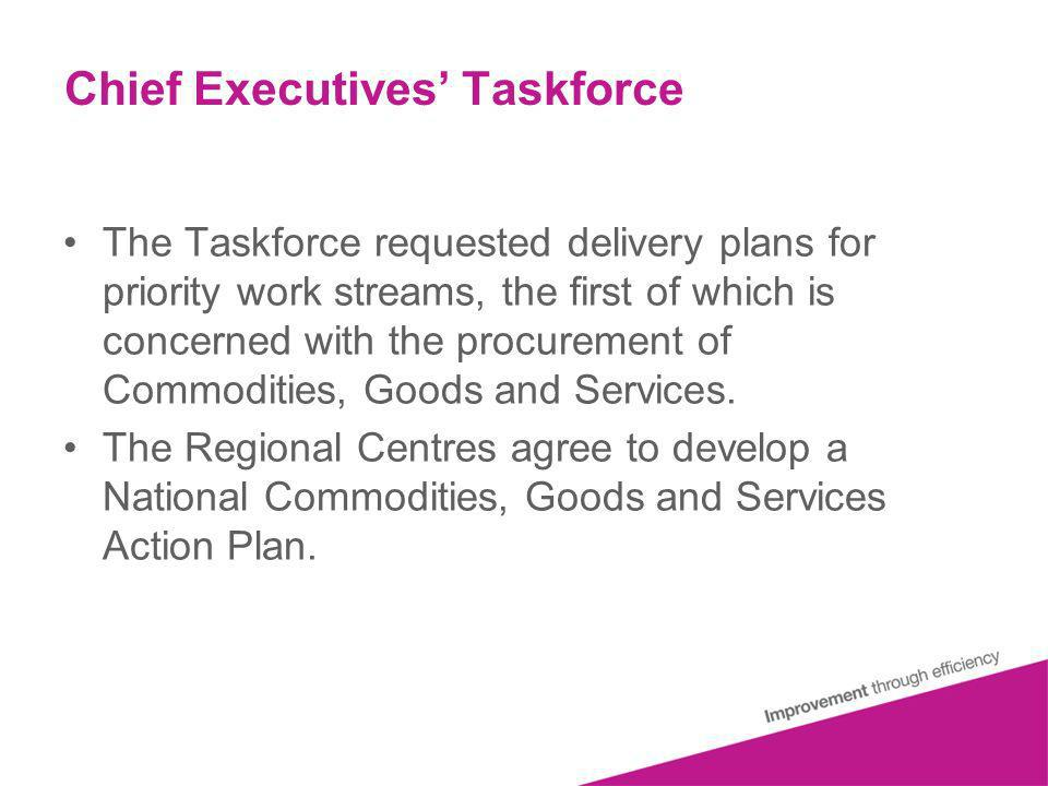 Chief Executives Taskforce The Taskforce requested delivery plans for priority work streams, the first of which is concerned with the procurement of Commodities, Goods and Services.