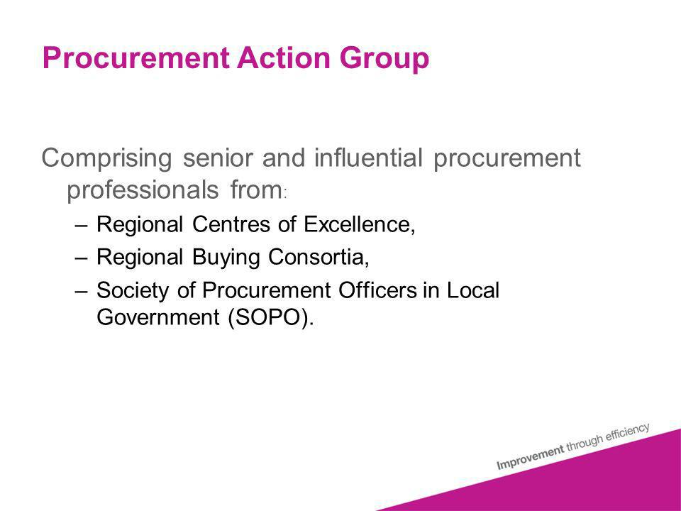 Procurement Action Group Comprising senior and influential procurement professionals from : –Regional Centres of Excellence, –Regional Buying Consortia, –Society of Procurement Officers in Local Government (SOPO).