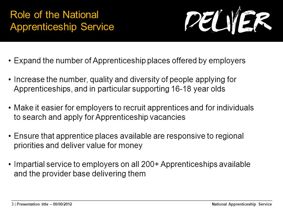 3 | Presentation title – 00/00/2012 Role of the National Apprenticeship Service National Apprenticeship Service Expand the number of Apprenticeship places offered by employers Increase the number, quality and diversity of people applying for Apprenticeships, and in particular supporting 16-18 year olds Make it easier for employers to recruit apprentices and for individuals to search and apply for Apprenticeship vacancies Ensure that apprentice places available are responsive to regional priorities and deliver value for money Impartial service to employers on all 200+ Apprenticeships available and the provider base delivering them