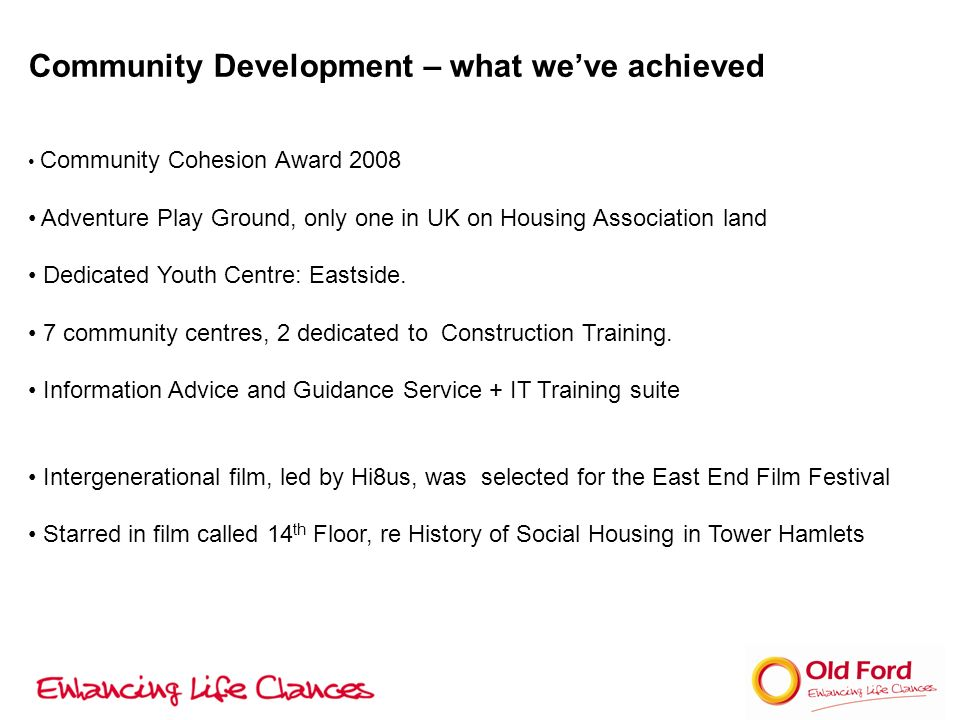 Community Development – what weve achieved Community Cohesion Award 2008 Adventure Play Ground, only one in UK on Housing Association land Dedicated Youth Centre: Eastside.