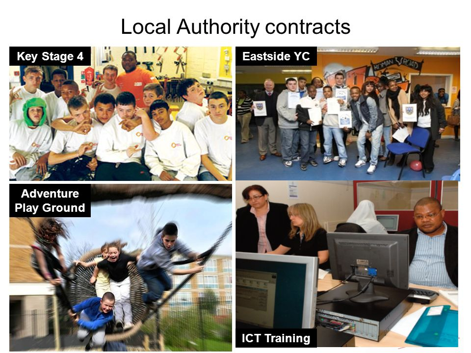 Local Authority contracts Key Stage 4 Adventure Play Ground Eastside YC ICT Training