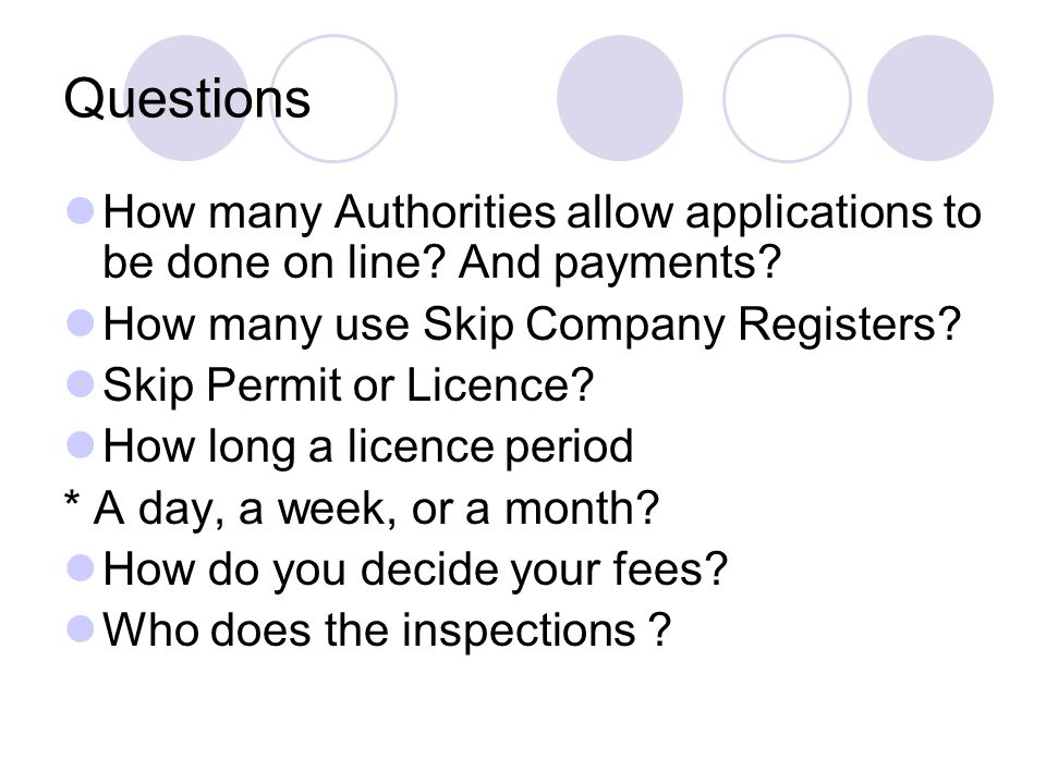 Questions How many Authorities allow applications to be done on line.