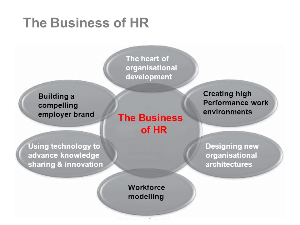 © Martin Reddington 2009 The Business of HR Building a compelling employer brand The heart of organisational development Creating high Performance work environments The Business of HR Designing new organisational architectures Workforce modelling Using technology to advance knowledge sharing & innovation