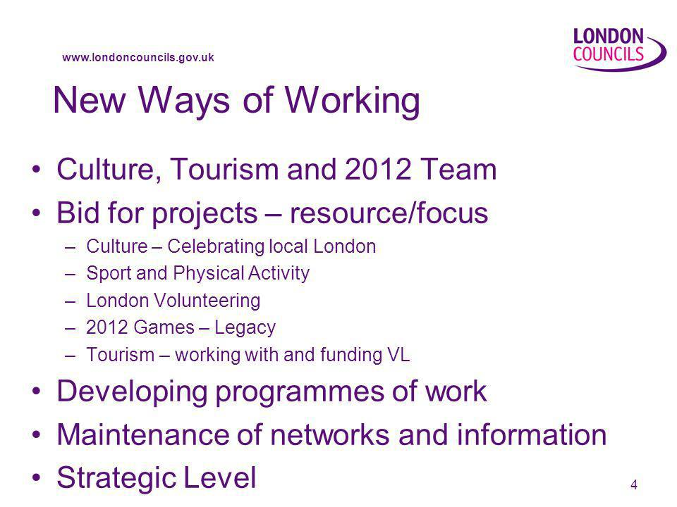 www.londoncouncils.gov.uk 4 New Ways of Working Culture, Tourism and 2012 Team Bid for projects – resource/focus –Culture – Celebrating local London –Sport and Physical Activity –London Volunteering –2012 Games – Legacy –Tourism – working with and funding VL Developing programmes of work Maintenance of networks and information Strategic Level