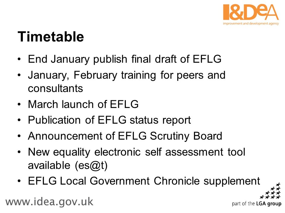 Timetable End January publish final draft of EFLG January, February training for peers and consultants March launch of EFLG Publication of EFLG status report Announcement of EFLG Scrutiny Board New equality electronic self assessment tool available (es@t) EFLG Local Government Chronicle supplement
