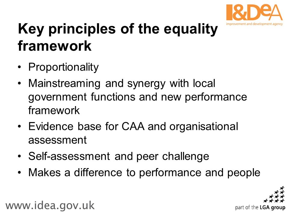 Key principles of the equality framework Proportionality Mainstreaming and synergy with local government functions and new performance framework Evidence base for CAA and organisational assessment Self-assessment and peer challenge Makes a difference to performance and people