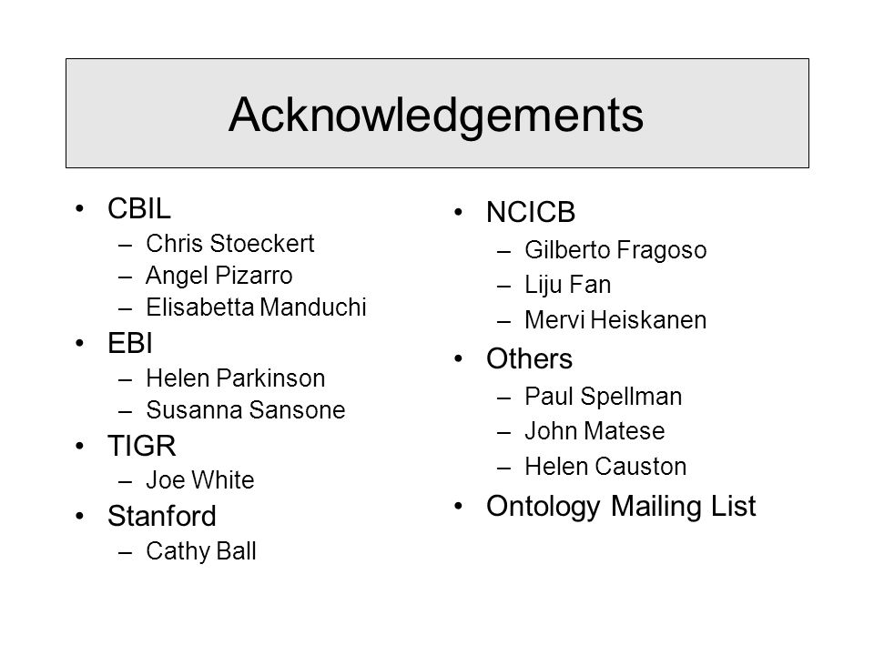 CBIL –Chris Stoeckert –Angel Pizarro –Elisabetta Manduchi EBI –Helen Parkinson –Susanna Sansone TIGR –Joe White Stanford –Cathy Ball Acknowledgements NCICB –Gilberto Fragoso –Liju Fan –Mervi Heiskanen Others –Paul Spellman –John Matese –Helen Causton Ontology Mailing List