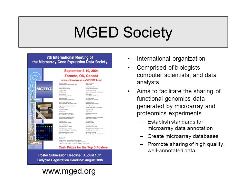 MGED Society International organization Comprised of biologists computer scientists, and data analysts Aims to facilitate the sharing of functional genomics data generated by microarray and proteomics experiments –Establish standards for microarray data annotation –Create microarray databases –Promote sharing of high quality, well-annotated data www.mged.org