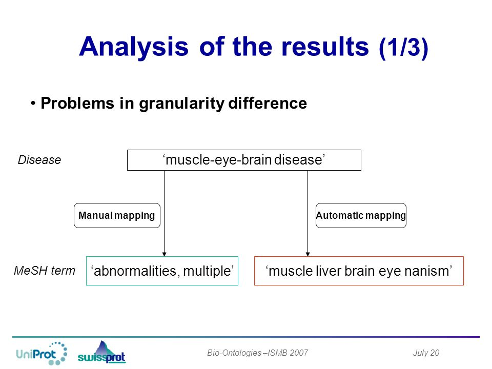 July 20Bio-Ontologies –ISMB 2007 Analysis of the results (1/3) muscle liver brain eye nanism Disease MeSH term abnormalities, multiple muscle-eye-brain disease Manual mappingAutomatic mapping Problems in granularity difference