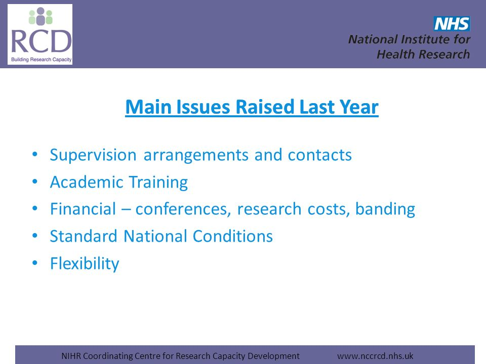 NIHR Coordinating Centre for Research Capacity Development www.nccrcd.nhs.uk Main Issues Raised Last Year Supervision arrangements and contacts Academic Training Financial – conferences, research costs, banding Standard National Conditions Flexibility Main Issues Raised Last Year