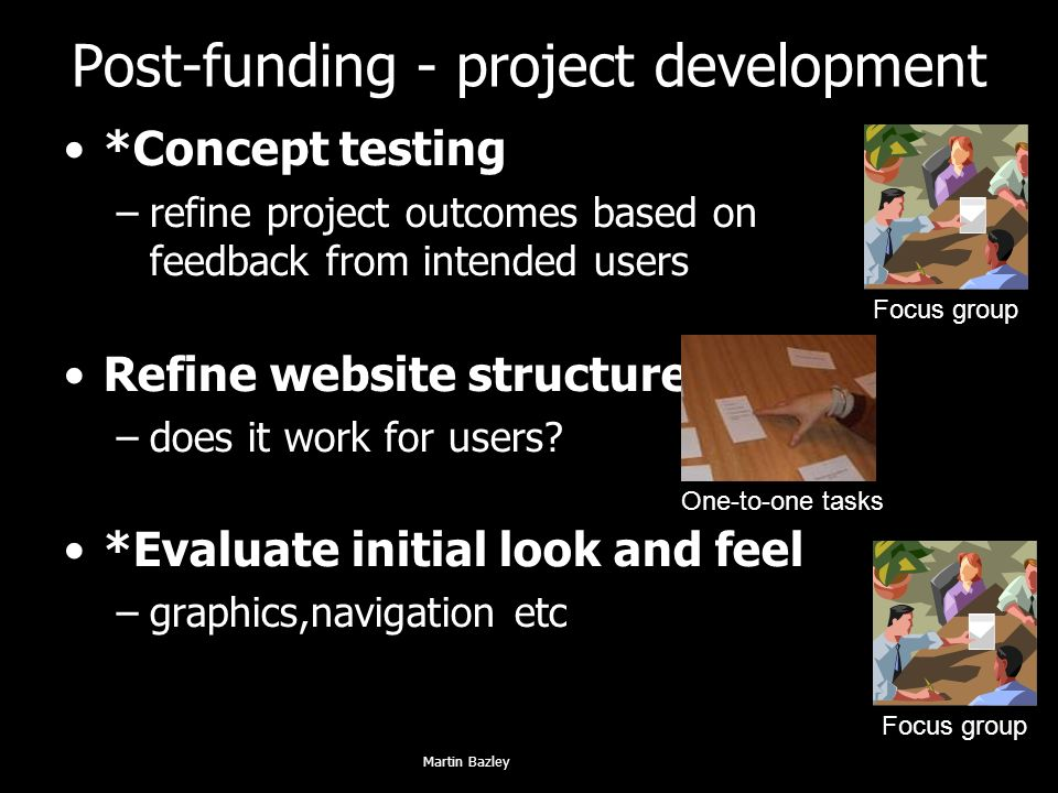 Post-funding - project development *Concept testing –refine project outcomes based on feedback from intended users Refine website structure –does it work for users.
