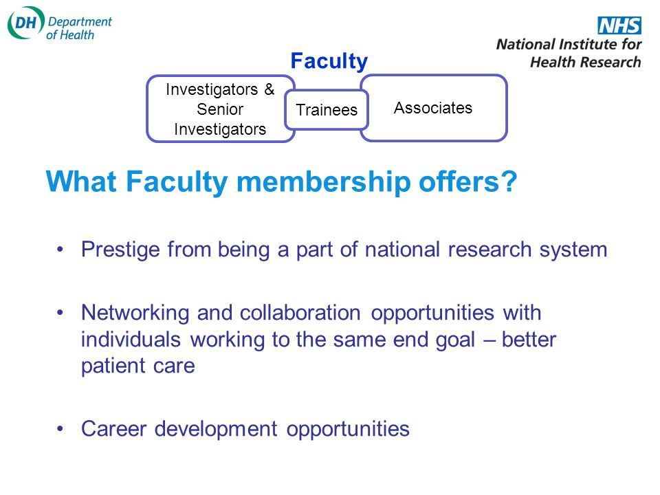 Investigators & Senior Investigators Associates Faculty Trainees What Faculty membership offers.