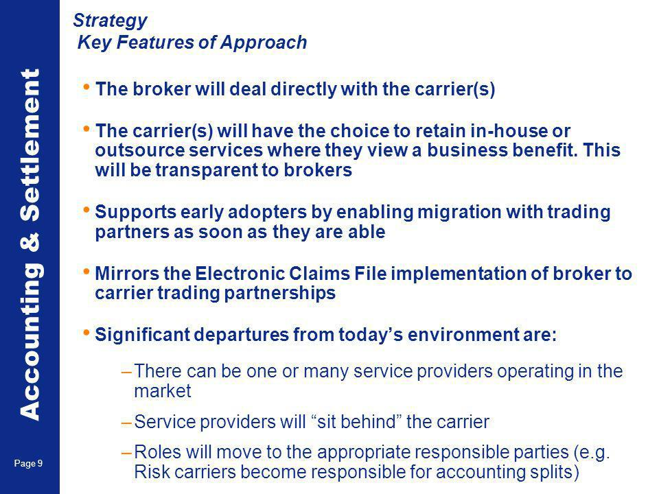 Accounting & Settlement Page 9 Strategy Key Features of Approach The broker will deal directly with the carrier(s) The carrier(s) will have the choice to retain in-house or outsource services where they view a business benefit.