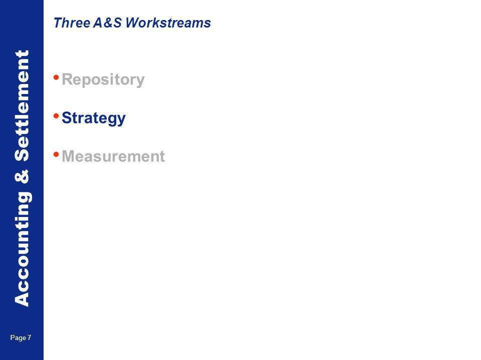Accounting & Settlement Page 7 Repository Strategy Measurement Three A&S Workstreams