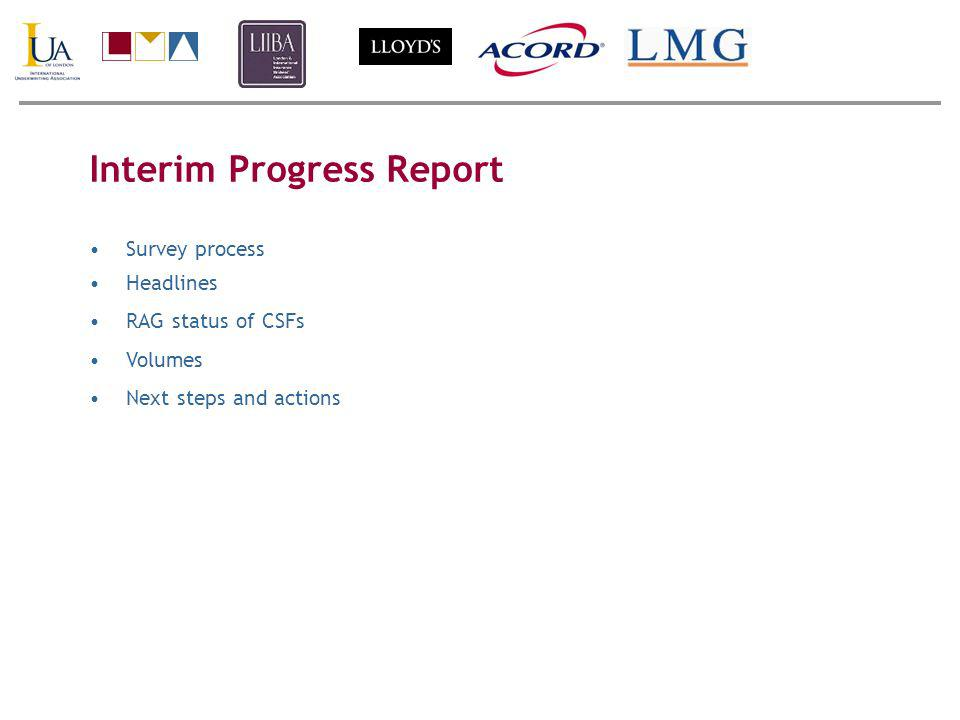 Interim Progress Report Survey process Headlines RAG status of CSFs Volumes Next steps and actions